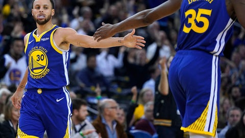 <p>               Golden State Warriors' Kevin Durant (35) high-fives Stephen Curry (30) after Curry made a 3-point shot against the Cleveland Cavaliers during the second half of an NBA basketball game Friday, April 5, 2019, in Oakland, Calif. The Warriors won 120-114. (AP Photo/Tony Avelar)             </p>