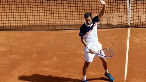 <p>               Russia's Daniil Medvedev reacts after defeating Serbia's Novak Djokovic in their quarterfinal match of the Monte Carlo Tennis Masters tournament in Monaco, Friday, April 19, 2019. (AP Photo/Claude Paris)             </p>