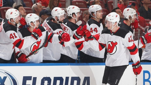 <p>               the New Jersey Devils bench congratulate Nathan Bastian, right, after he scored a goal against the Florida Panthers during the first period of an NHL hockey game, Saturday, April 6, 2019, in Sunrise, Fla. (AP Photo/Joel Auerbach)             </p>
