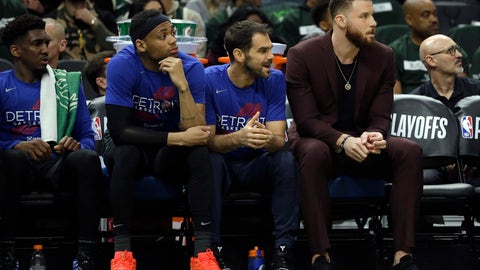 <p>               Detroit Pistons' Blake Griffin, right, watches from the bench during the first half of Game 1 of an NBA basketball first-round playoff series against the Milwaukee Bucks, Sunday, April 14, 2019, in Milwaukee. (AP Photo/Aaron Gash)             </p>