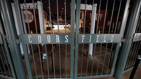 <p>               Gates remain locked at Coors Field as a baseball game between the Atlanta Braves and Colorado Rockies was postponed because of a spring snowstorm Wednesday, April 10, 2019, in Denver. The game has been rescheduled for August 26. Forecasters are predicting from four to 10 inches of snow for northeastern Colorado as the storm sweeps over the intermountain West Wednesday evening and into Thursday. (AP Photo/David Zalubowski)             </p>