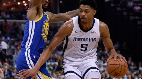 <p>               Memphis Grizzlies forward Bruno Caboclo (5) is defended by Golden State Warriors forward Alfonzo McKinnie (28) during the second half of an NBA basketball game Wednesday, April 10, 2019, in Memphis, Tenn. (AP Photo/Brandon Dill)             </p>
