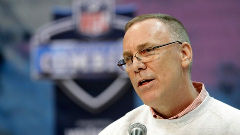 <p>               FILE - In this Feb. 28, 2019, file photo, Cleveland Browns general manager John Dorsey speaks during a press conference at the NFL football scouting combine in Indianapolis. Dorsey says he's in no rush to trade running back Duke Johnson, who has asked to be moved. During his pre-draft news conference Wednesday, April 17, 2019, Dorsey said Johnson has not reported for the Browns' voluntary offseason workout program, which began on April 1.(AP Photo/Darron Cummings, File)             </p>
