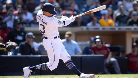 <p>               San Diego Padres' Manny Machado hits a two-run home run during the seventh inning of a baseball game against the Arizona Diamondbacks Wednesday, April 3, 2019, in San Diego. (AP Photo/Orlando Ramirez)             </p>