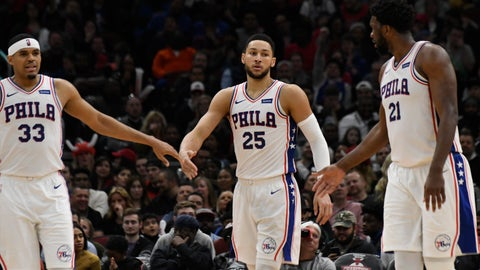 <p>               Philadelphia 76ers guard Ben Simmons (25) walks between forward Tobias Harris (33) and center Joel Embiid (21) after making a basket against the Chicago Bulls during the second half of an NBA basketball game Saturday, April 6, 2019, in Chicago. (AP Photo/David Banks)             </p>