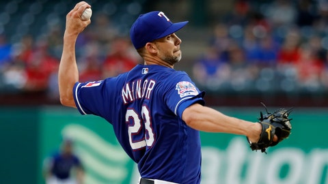 <p>               Texas Rangers starting pitcher Mike Minor throws to a Los Angeles Angels batter during the first inning of a baseball game in Arlington, Texas, Tuesday, April 16, 2019. (AP Photo/Tony Gutierrez)             </p>