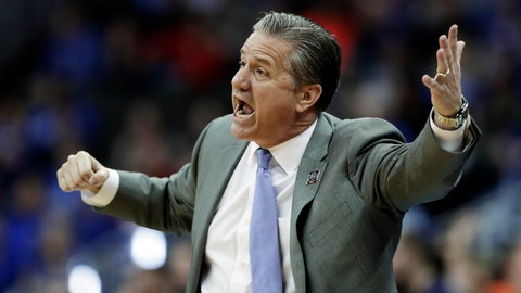 <p>               Kentucky head coach John Calipari yells to his players during the first half of the Midwest Regional final game against Auburn in the NCAA men's college basketball tournament Sunday, March 31, 2019, in Kansas City, Mo. (AP Photo/Charlie Riedel)             </p>