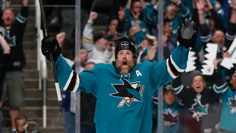 <p>               San Jose Sharks' Joe Thornton (19) celebrates his goal against the Vegas Golden Knights during the first period of Game 2 of an NHL hockey first-round playoff series Friday, April 12, 2019, in San Jose, Calif. (AP Photo/Josie Lepe)             </p>
