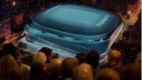 <p>               Real Madrid board of directors and guests watch a projection of a artist's image of the proposed new Santiago Bernabeu stadium during a presentation to remodel the stadium in Madrid, Spain, Tuesday, April 2, 2019. (AP Photo/Paul White)             </p>