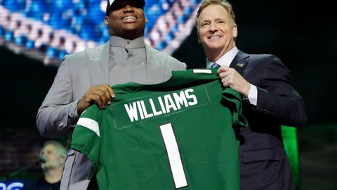 <p>               Alabama defensive tackle Quinnen Williams poses with NFL Commissioner Roger Goodell after the New York Jets selected Williams in the first round at the NFL football draft, Thursday, April 25, 2019, in Nashville, Tenn. (AP Photo/Mark Humphrey)             </p>