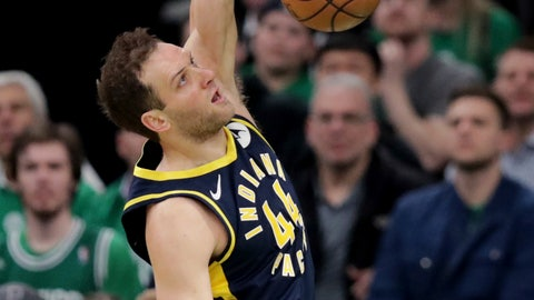 <p>               Indiana Pacers forward Bojan Bogdanovic (44) slams a dunk against the Boston Celtics during the first quarter of Game 2 of an NBA basketball first-round playoff series, Wednesday, April 17, 2019, in Boston. (AP Photo/Charles Krupa)             </p>