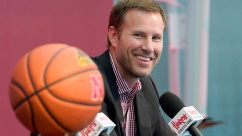 <p>               Fred Hoiberg is introduced as Nebraska's new NCAA college basketball head coach at a news conference in Lincoln, Neb., Tuesday, April 2, 2019. Hoiberg, former head coach for the Chicago Bulls and Iowa State, replaces fired head coach Tim Miles. (AP Photo/Nati Harnik)             </p>