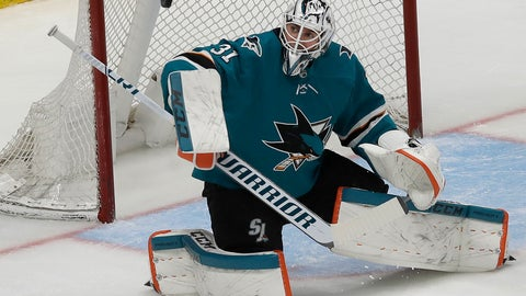 <p>               San Jose Sharks goaltender Martin Jones defends on a Colorado Avalanche shot during the third period of an NHL hockey game in San Jose, Calif., Saturday, April 6, 2019. (AP Photo/Jeff Chiu)             </p>