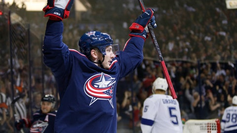 <p>               Columbus Blue Jackets' Matt Duchene celebrates his goal against the Tampa Bay Lightning during the second period of Game 3 of an NHL hockey first-round playoff series Sunday, April 14, 2019, in Columbus, Ohio. (AP Photo/Jay LaPrete)             </p>