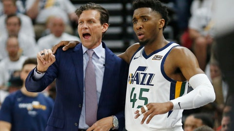 <p>               Utah Jazz head coach Quin Snyder and guard Donovan Mitchell (45) speak in the first half during Game 4 of a first-round NBA basketball playoff series against the Houston Rockets, Monday, April 22, 2019, in Salt Lake City. (AP Photo/Rick Bowmer)             </p>