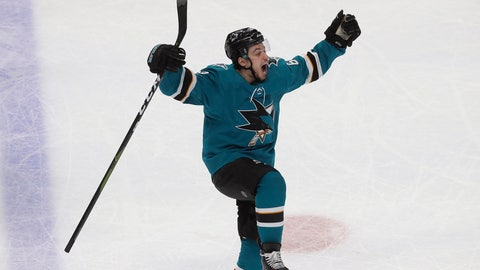 <p>               San Jose Sharks right wing Kevin Labanc (62) celebrates after scoring a goal against the Vegas Golden Knights during the third period of Game 7 of an NHL hockey first-round playoff series in San Jose, Calif., Tuesday, April 23, 2019. (AP Photo/Jeff Chiu)             </p>