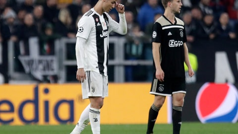 <p>               Juventus' Cristiano Ronaldo reacts during the Champions League, quarterfinal, second leg soccer match between Juventus and Ajax, at the Allianz stadium in Turin, Italy, Tuesday, April 16, 2019. Ajax won 2-1 and advances to the semifinal on a 3-2 aggregate. (AP Photo/Luca Bruno)             </p>