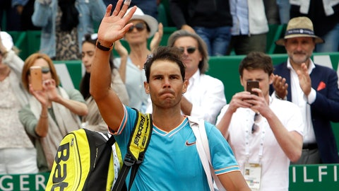 <p>               Spain's Rafael Nadal waves after losing the semifinal match of the Monte Carlo Tennis Masters tournament against Italy's Fabio Fognini in Monaco, Saturday, April, 20, 2019. (AP Photo/Claude Paris)             </p>