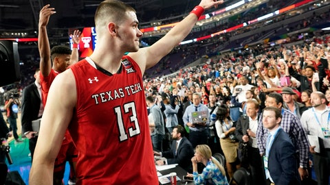 Texas Tech guard Matt Mooney reacts to fans after a semifinal round game against Michigan State in the Final Four NCAA college basketball tournament Saturday