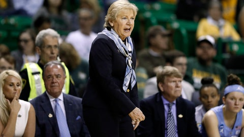 <p>               North Carolina head coach Sylvia Hatchell instructs her team in the second half of a first round women's college basketball game in the NCAA Tournament in Waco, Texas, Saturday March 23, 2019. (AP Photo/Tony Gutierrez)             </p>