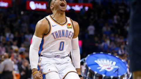 <p>               Oklahoma City Thunder guard Russell Westbrook (0) runs out and roars to the crowd before an NBA basketball game against the Los Angeles Lakers Tuesday, April 2, 2019, in Oklahoma City. (AP Photo/Sue Ogrocki)             </p>