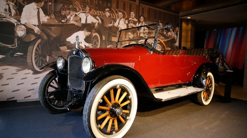 "<p>               The ""Hupmobile"" is displayed at the annual NFL football owners meetings, Monday, March 25, 2019, in Phoenix. Fifteen men were ready to launch the 10 charter teams of the National Football League in 1920. They gathered in Ralph Hay's car showroom in Canton, Ohio, and got down to business. Except for one problem: There weren't enough chairs for everyone. Instead, a few of the future owners of NFL franchises sat on the running boards of the Hupmobile in Hay's dealership. And when they were ready to sign the papers to establish the league, they leaned on the hood of the car to finish up.(AP Photo/Rick Scuteri)             </p>"
