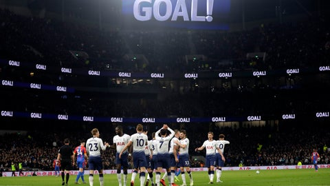<p>               Tottenham players celebrate after Christian Eriksen scored their side's second goal during the English Premier League soccer match betweenTottenham Hotspur and Crystal Palace, the first Premiership match at the new Tottenham Hotspur stadium in London, Wednesday, April 3, 2019. (AP Photo/Kirsty Wigglesworth)             </p>