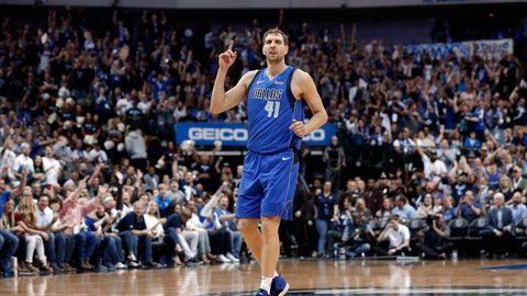 <p>               Dallas Mavericks' Dirk Nowitzki (41) celebrates sinking a 3-point basket during the second half of the team's NBA basketball game against the Phoenix Suns in Dallas, Tuesday, April 9, 2019. (AP Photo/Tony Gutierrez)             </p>