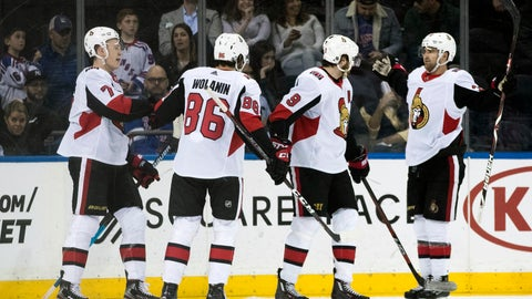<p>               Ottawa Senators left wing Brady Tkachuk (7) celebrates after scoring a goal during the second period of an NHL hockey game against the New York Rangers, Wednesday, April 3, 2019, at Madison Square Garden in New York. (AP Photo/Mary Altaffer)             </p>