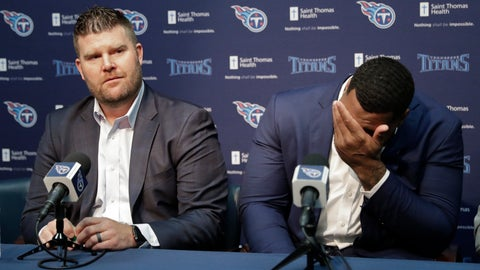 <p>               Mississippi State defensive tackle Jeffery Simmons, right, wipes tears as Tennessee Titans general manager Jon Robinson speaks about him during a news conference Friday, April 26, 2019, in Nashville, Tenn. Simmons was selected in the first round of the NFL football draft by the Titans. (AP Photo/Mark Humphrey)             </p>