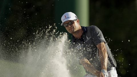<p>               Zach Johnson hits on the 18th hole during the first round for the Masters golf tournament Thursday, April 11, 2019, in Augusta, Ga. (AP Photo/Marcio Jose Sanchez)             </p>