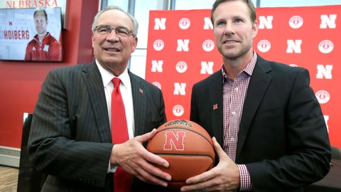 <p>               Fred Hoiberg, right, poses for a photo with Athletic Director Bill Moos, after he was introduced as Nebraska's new NCAA college basketball head coach at a news conference in Lincoln, Neb., Tuesday, April 2, 2019. Hoiberg, former head coach for the Chicago Bulls and Iowa State, replaces fired head coach Tim Miles. (AP Photo/Nati Harnik)             </p>