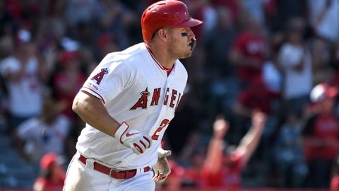 <p>               Los Angeles Angels' Mike Trout watches his two-run home run during the sixth inning against the Texas Rangers in a baseball game Sunday, April 7, 2019, in Anaheim, Calif. (AP Photo/Michael Owen Baker)             </p>