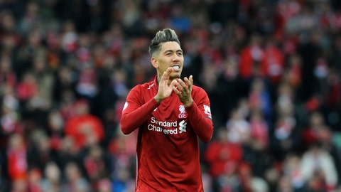 <p>               Liverpool's Roberto Firmino applauds to supporters at the end of the English Premier League soccer match between Liverpool and Chelsea at Anfield stadium in Liverpool, England, Sunday, April 14, 2019. (AP Photo/Rui Vieira)             </p>