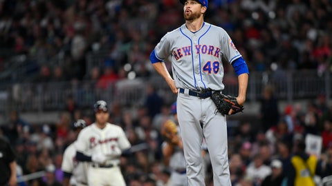 <p>               New York Mets' Jacob deGrom (48) takes a deep breath after walking Atlanta Braves Freddie Freeman, left, during the third inning of a baseball game Sunday, April 14, 2019, in Atlanta. (AP Photo/John Amis)             </p>