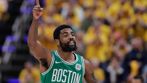 <p>               Boston Celtics guard Kyrie Irving gestures during the first half of Game 3 of the team's NBA basketball first-round playoff series against the Indiana Pacers, Friday, April 19, 2019, in Indianapolis. (AP Photo/Darron Cummings)             </p>