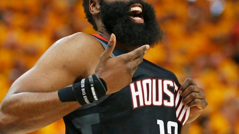 <p>               Houston Rockets guard James Harden (13) reacts after a foul in the first half during an NBA basketball game against the Utah Jazz Saturday, April 20, 2019, in Salt Lake City. (AP Photo/Rick Bowmer)             </p>