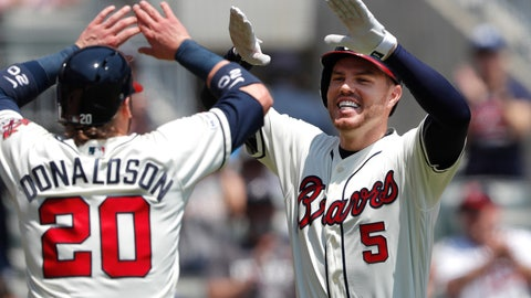 <p>               Atlanta Braves first baseman Freddie Freeman (5), right, celebrates with Josh Donaldson (20) after hitting a two-run home run in the first inning of a baseball game against the Colorado Rockies Sunday, April 28, 2019, in Atlanta. (AP Photo/John Bazemore)             </p>
