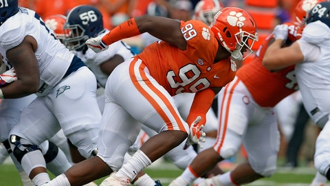 <p>               FILE - In this Sept. 15, 2018, file photo, Clemson's Clelin Ferrell (99) rushes into the backfield during the first half of an NCAA college football game against Georgia Southern, in Clemson, S.C. Ferrell is a possible pick in the 2019 NFL Draft. (AP Photo/Richard Shiro, File)             </p>
