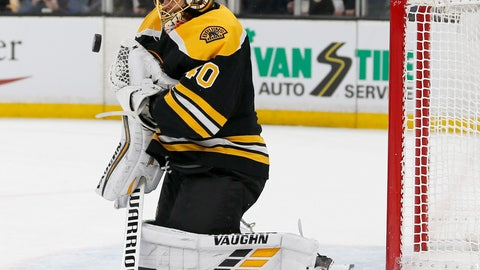 <p>               Boston Bruins goaltender Tuukka Rask (40) makes a save off his chest during the first period of Game 2 of an NHL hockey first-round playoff series against the Toronto Maple Leafs, Saturday, April 13, 2019, in Boston. (AP Photo/Mary Schwalm)             </p>