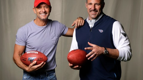 <p>               In this April 18, 2019, photo, country music star Tim McGraw, left, poses with Tennessee Titans head coach Mike Vrabel in Nashville, Tenn. After the opening round of the NFL Draft in Nashville on Friday, April 25, McGraw will cap off the evening performing on the draft stage across the Cumberland River from Nissan Stadium, home of the Tennessee Titans. (AP Photo/Mark Humphrey)             </p>