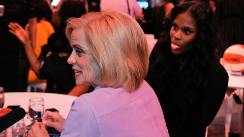 <p>               Baylor women's basketball coach Kim Mulkey, front, answers questions during an interview as Kalani Brown makes faces at the camera before the WNBA basketball draft Wednesday, April 10, 2019, in New York. (AP Photo/Julie Jacobson)             </p>