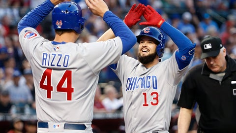 <p>               Chicago Cubs' David Bote (13) is congratulated by teammate Anthony Rizzo (44) after hitting a two-run home run against the Arizona Diamondbacks during the fifth inning of a baseball game, Saturday, April 27, 2019, in Phoenix. It was Bote's second home run of the game. (AP Photo/Ralph Freso)             </p>
