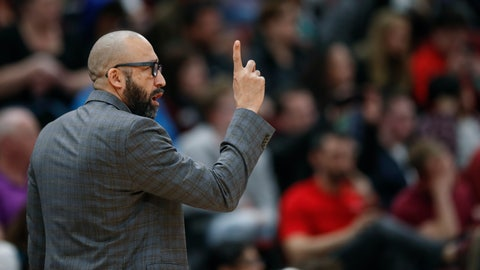 <p>               New York Knicks coach David Fizdale gestures during the first half of the team's NBA basketball game against the Chicago Bulls on Tuesday, April 9, 2019, in Chicago. (AP Photo/Kamil Krzaczynski)             </p>