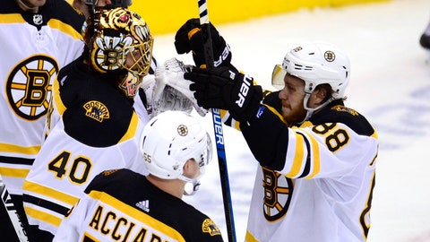 <p>               Boston Bruins right wing David Pastrnak (88) celebrates with goaltender Tuukka Rask (40) and center Noel Acciari (55) after defeating the Toronto Maple Leafs in Game 6 of an NHL hockey first-round playoff series Sunday, April 21, 2019, in Toronto. (Frank Gunn/The Canadian Press via AP)             </p>