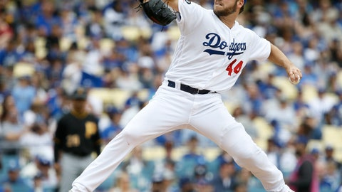 <p>               Los Angeles Dodgers starting pitcher Rich Hill delivers to a Pittsburgh Pirates batter during the second inning of a baseball game in Los Angeles, Sunday, April 28, 2019. (AP Photo/Alex Gallardo)             </p>