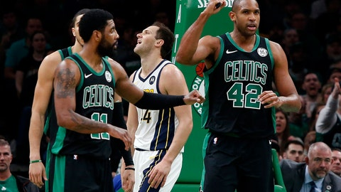 <p>               Boston Celtics' Al Horford (42) pumps his fist after being fouled while making a basket by Indiana Pacers' Bojan Bogdanovic, rear, during the second quarter in Game 1 of a first-round NBA basketball playoff series, Sunday, April 14, 2019, in Boston. (AP Photo/Winslow Townson)             </p>