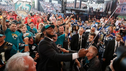 <p>               Florida's Jawaan Taylor takes a photo with fans after the Jacksonville Jaguars selected Taylor in the second round of the NFL football draft, Friday, April 26, 2019, in Nashville, Tenn. (AP Photo/Mark Humphrey)             </p>