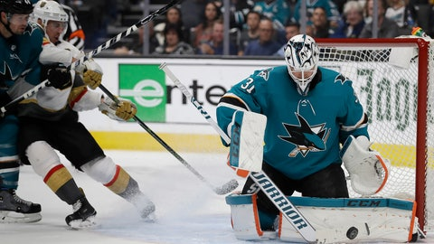 <p>               San Jose Sharks goalie Martin Jones, right, blocks a shot from the Vegas Golden Knights during the second period of Game 5 of an NHL hockey first-round playoff series Thursday, April 18, 2019, in San Jose, Calif. (AP Photo/Ben Margot)             </p>