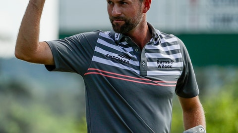 <p>               Webb Simpson acknowledges the crowd on the 18th green during the third round for the Masters golf tournament Saturday, April 13, 2019, in Augusta, Ga. (AP Photo/Chris Carlson)             </p>
